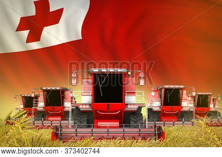Industrial 3d Illustration Of A Lot Of Red Farming Combine Harvesters On Rural Field With Tonga Flag