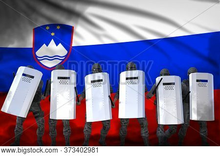 Slovenia Police Squad Protecting Country Against Disorder - Protest Fighting Concept, Military 3d Il