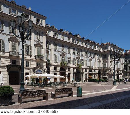 Turin, Italy - Circa June 2020: Piazza Carignano Square And Via Accademia Delle Scienze Street
