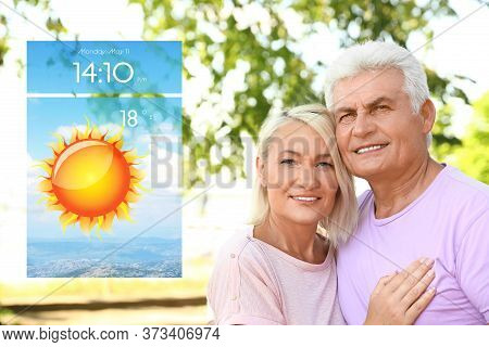 Senior Couple On City Street And Weather Forecast Widget. Mobile Application