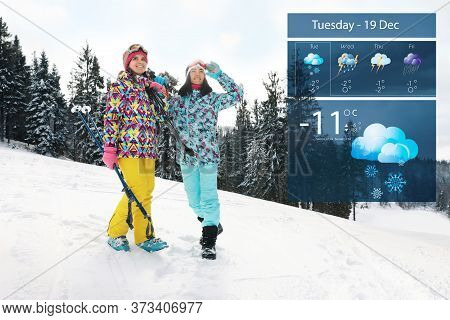 Young Skiers Outdoors And Weather Forecast Widget. Mobile Application