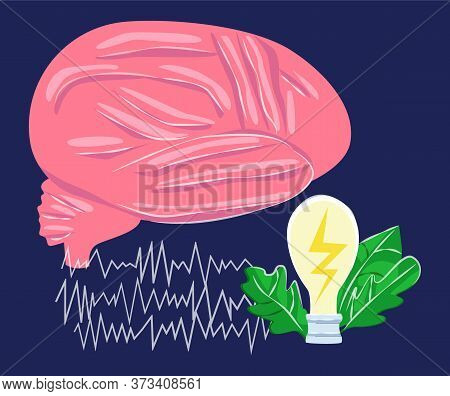 Vector Abstract Illustration With Enlarged A Brain