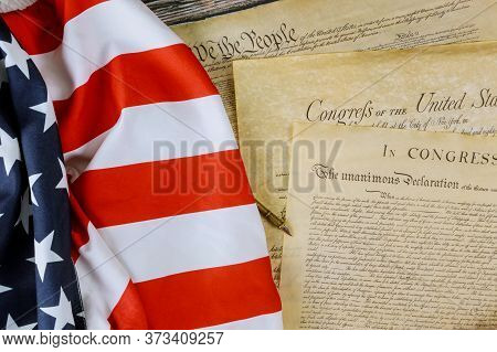 American Flag We The People And Preamble To The Constitution Of The United States Declaration Of Ind