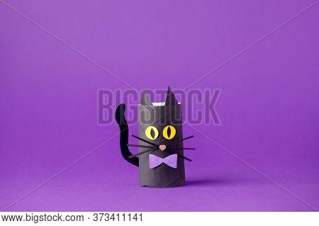 Halloween Black Cat On Purple For Halloween Concept Background. Paper Crafts, Easy Diy. Handcraft Cr
