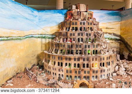 Mount Nebo, Jordan - March 21, 2017: Tower Of Babel Model In La Storia Tourism Complex At The Mount