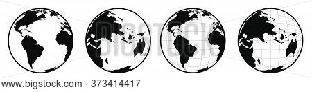 Icons Of Hemisphere Of The Globe With Continents And Continents. Black White Vector