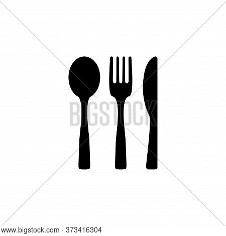 Fork, Spoon And Knife Black Icon Concept. Plate, Fork, Spoon And Knife Vector Illustration, Symbol,