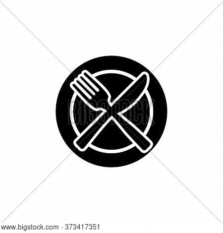 Plate, Fork And Spoon Line Icon Concept. Plate, Fork And Spoon Vector Linear Illustration, Symbol, S