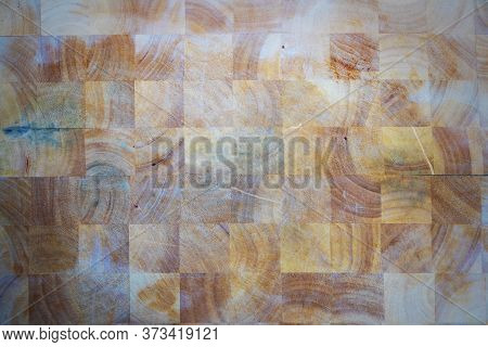 Wooden Food Chopping Or Cutting Board, With Seasoned Nicks And Cutting Marks, For Background.