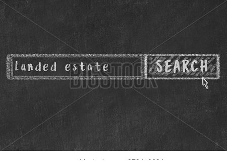 Drawing Of Search Engine On Black Chalkboard. Concept Of Looking For Landed Estate