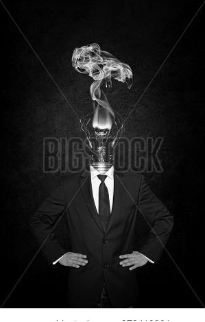 Overworked Burnout Business Man Standing Headless With Broken Bulb Instead Of His Head. Symbolic Ima