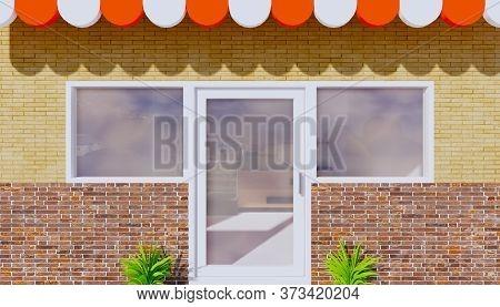 3d Rendering Of Architectural Design Of Storefront And Aluminium Door.