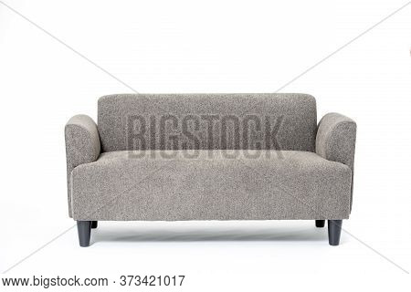 A Grey Cozy Flannel Loveseat Sofa Isolated On White Background.