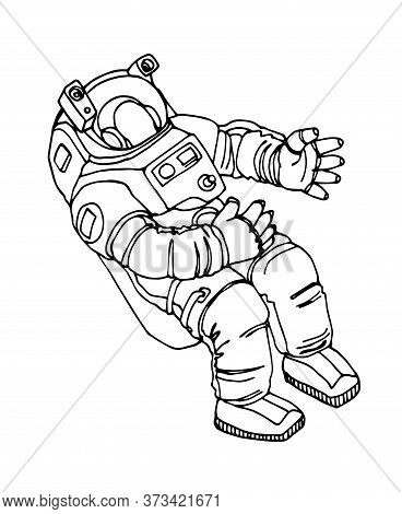Astronaut In Spacesuit Floating In Weightlessness, Vector Illustration With Black Contour Lines Isol