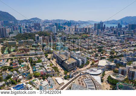 Kowloon Tong, Hong Kong 12 April 2020: Aerial view of Hong Kong city
