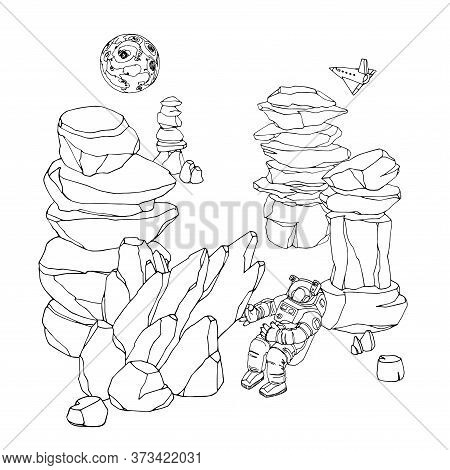 Space Landscape, On The Surface Of An Asteroid Or Moon A Rock Falls On An Astronaut In A Spacesuit W