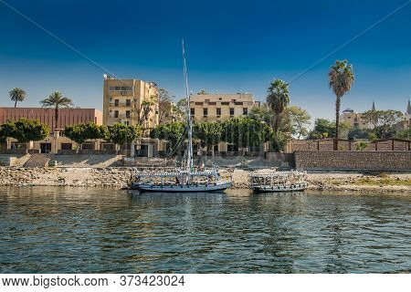 Luxor, Egypt - Jan 28, 2020:The touristic boats on Nile river in Luxor city, Egypt
