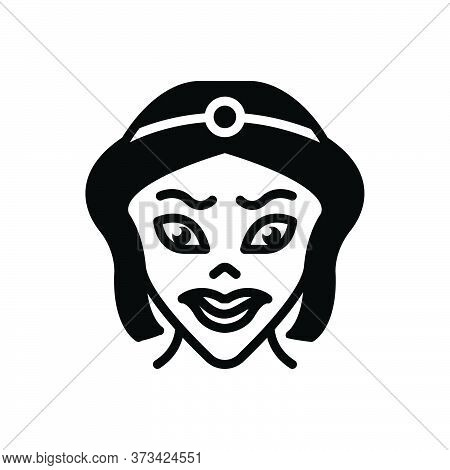 Black Solid Icon For Cartoon Caricature Parody Scary Lady