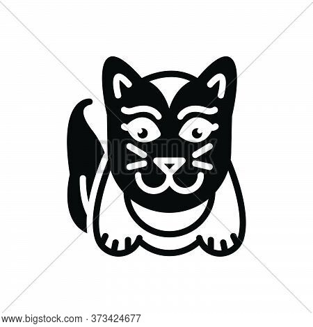 Black Solid Icon For Cute Lovable Sweet Charming Likable Cat