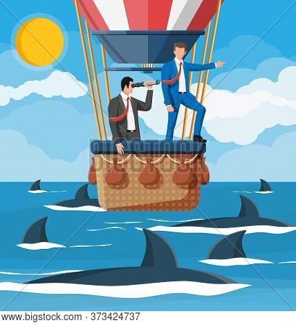Business People On Air Balloon, Shark In Water. Businessman With Spyglass. Obstacle On Road, Financi
