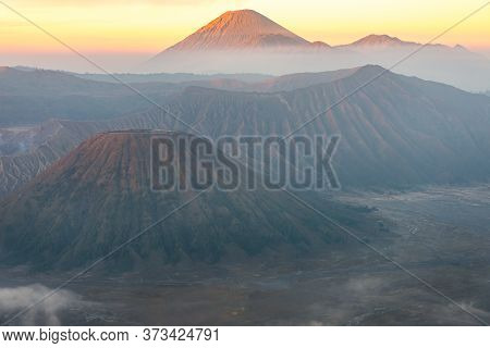 Spectacular View Of Mount Bromo At Dawn. This Is An Active Volcano Part Of The Tengger Massif, In Ea