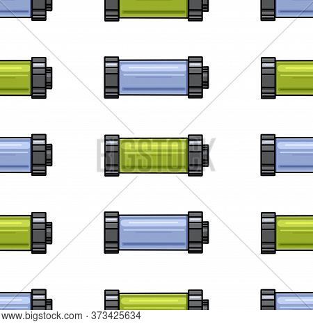 Seamless Pattern With Contour Cartoon Multi-colored Batteries In A Row On A White Background. Charge