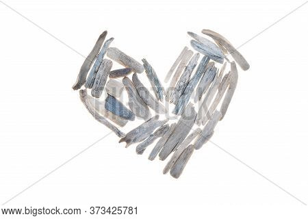 Driftwood Heart Isolated On A White Background.driftwood Wall Decor. White Sea Dry Snags Heart Shape