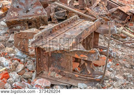 Thick Steel Beams Joined By Rivets. Destroyed Rusty Metal Structures.