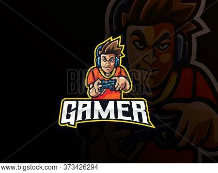 Gamer Mascot Sport Logo Design. Gamer Boy Mascot Vector Illustration Logo. Gamer Character Mascot De