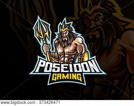Poseidon Mascot Sport Logo Design. Mythology Poseidon Mascot Vector Illustration Logo. Poseidon Masc