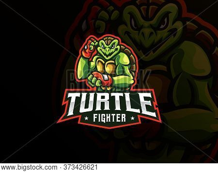 Turtle Mascot Sport Logo Design. Turtle Fighter Mascot Vector Illustration Logo. Turtle Mutant Masco