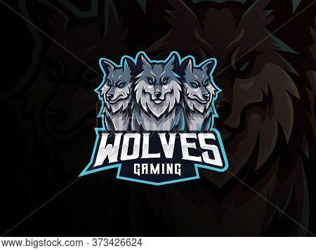 Wolves Mascot Sport Logo Design. Cerberus Head Mascot Vector Illustration Logo. Wild Beast Wolf Masc
