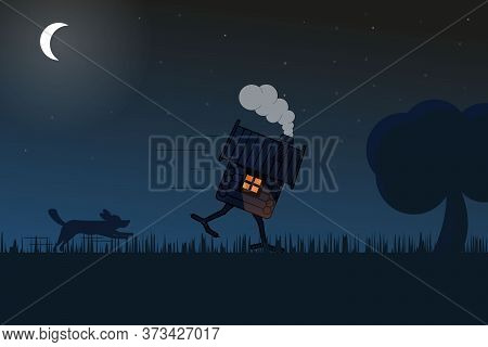 Illustration Of A Hut Running From A Dog On Chicken Legs In A Field Lit By Moonlight. Illustration O