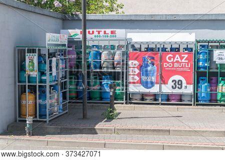 Mikolajki, Poland - June 1, 2020: Gas Cylinders Propane Butane.