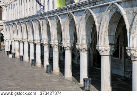 Arcade Of Palazzo Ducale At Piazza San Marco In Venice, Italy. The Palace Was The Residence Of The D