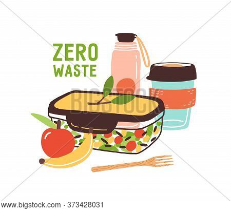 Colorful Zero Waste Lunch Vector Flat Illustration. Eco Friendly Durable And Reusable Items - Thermo