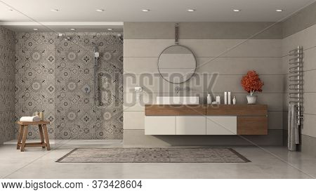 Modern Bathroom With Sink And Shower With Retro Tiles - 3d Rendering