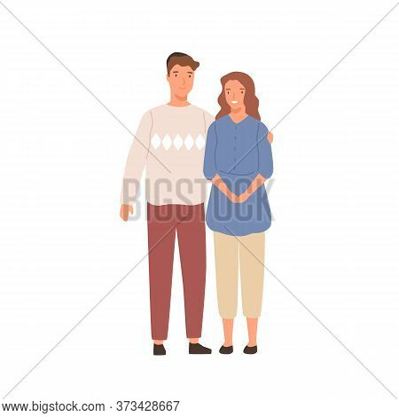 Smiling Jewish Couple Standing Together Vector Flat Illustration. Happy Family Hugging Having Positi