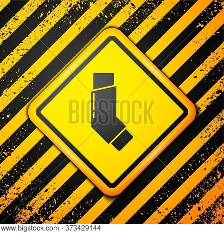 Black Inhaler Icon Isolated On Yellow Background. Breather For Cough Relief, Inhalation, Allergic Pa