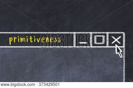 Chalk Sketch Of Closing Browser Window With Page Header Inscription Primitiveness