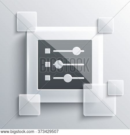 Grey Car Settings Icon Isolated On Grey Background. Auto Mechanic Service. Repair Service Auto Mecha