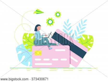 business people. Credit card online payment concept with modern man using laptop to pay, money terminal, and bill.Business people. Business background. Infographic business arrow shape template design.business people. Business background