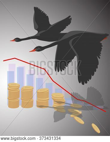 Falling Coins And A Curve On The Chart In The Shadow Of Flying Black Swans. This Is A Symbol Of The