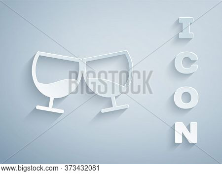 Paper Cut Glass Of Cognac Or Brandy Icon Isolated On Grey Background. Paper Art Style. Vector Illust