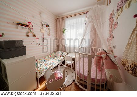 Beautiful Little Cosy White Kids Room With Two Beds For Girls Kids. Interior Solutions For Small Apa