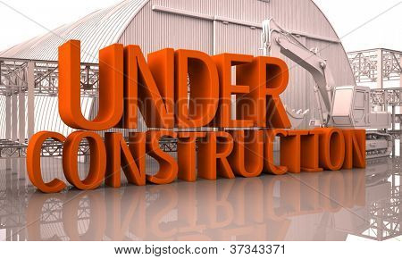 Under reconstruction, large letters on the building site poster