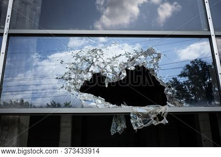 Accident Cracked Damaged Broken Shopping Mall Window Glass.