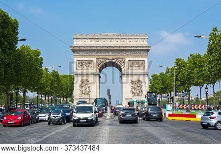 Triumphal Arch (arc De Triomphe) And Champs Elysee Avenue, Paris, France - May 2019