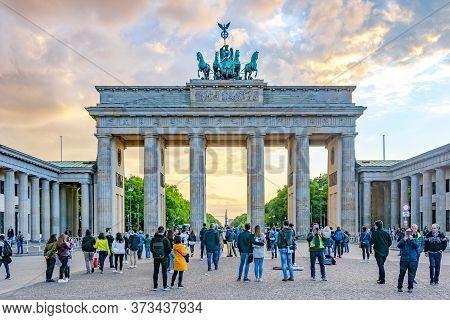 Brandenburg Gate (brandenburger Tor) At Night, Berlin, Germany - May 2019
