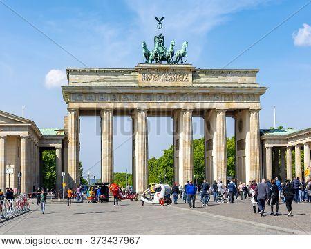 Brandenburg Gate (brandenburger Tor) In Center Of Berlin, Germany - May 2019
